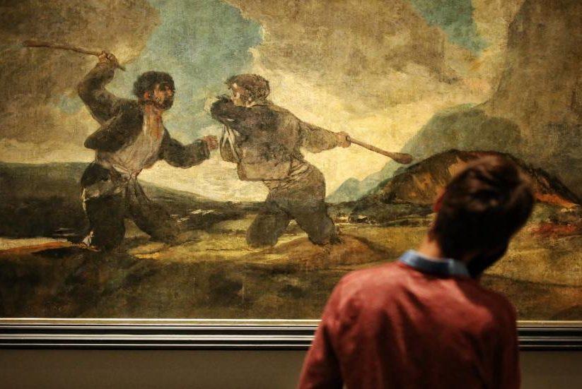 """""""Duelo a garrotazos"""". Francisco de Goya."""